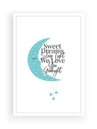 Sweet dreams sleep tight, we love you goodnight, cute moon illustration, poster design, wording design, lettering, stars, childish wall decor, kids wall decoration. Good night quotes. Wall art work Standard-Bild - 136899988