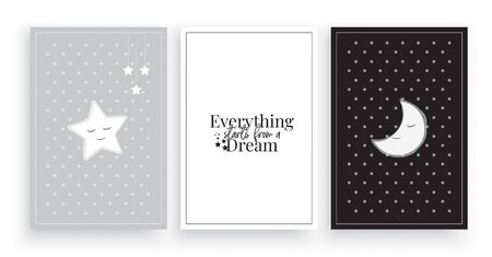 Everything starts from a dream vector, three pieces poster design, illustration, wording design, lettering, star, cute moon illustration, childish wall decor, kids wall decoration. Good night quotes Foto de archivo - 136899986