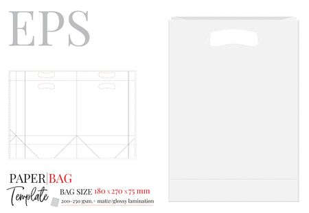 Paper Bag with handle Template, Vector with die cut / laser cut layers. Shopping Bag, 270 x 180 x 75, Packaging Design.  White, clear, blank, isolated Paper Bag mock up on white background Standard-Bild - 136899985