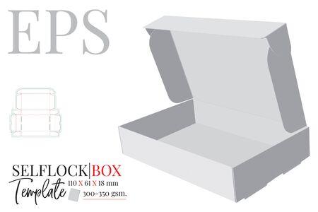 Self Lock Box Template, Vektor mit gestanzten, lasergeschnittenen Linien. Verpackungsdesign schneiden und falten. Weißes, klares, leeres, isoliertes Self Lock Box-Modell auf weißem Hintergrund mit perspektivischer Darstellung Vektorgrafik