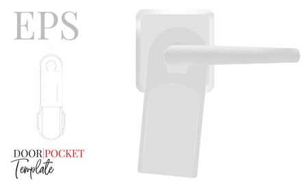 Hanger display, door hanger pocket Template, Vector with die cut / laser cut lines. Blank, white, clear, isolated Door Hanger mock up on white background with perspective view Standard-Bild - 136899990