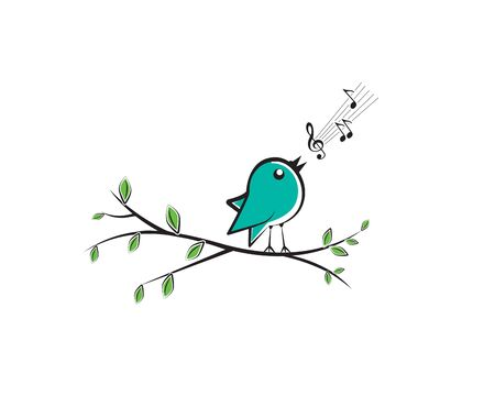 Singing bird silhouette on branch, vector. Colorful fun bird illustration. Cartoon.  Wall decals, wall artwork.  Poster design  isolated on white background. Spring season Standard-Bild - 135759719