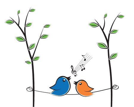 Singing birds silhouettes on branch, vector. Colorful fun bird illustration. Cartoon.  Wall decals, wall artwork.  Poster design isolated on white background. Spring season Standard-Bild - 135843342