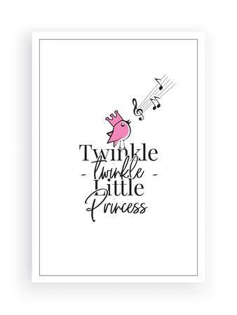 Twinkle, twinkle little star, vector. Wording design, lettering. Pink Singing bird silhouette. Childish poster design, home wall decoration for little Princess. Wall decals, wall artwork,poster design Standard-Bild - 135843243