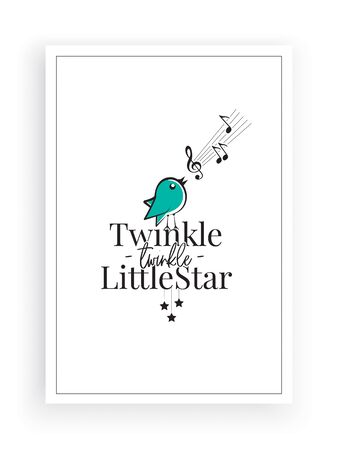 Twinkle, twinkle little star, vector. Wording design, lettering. Blue Singing bird silhouette. Childish poster design, home wall decoration for little Prince. Wall decals, wall artwork, poster design Standard-Bild - 136899994
