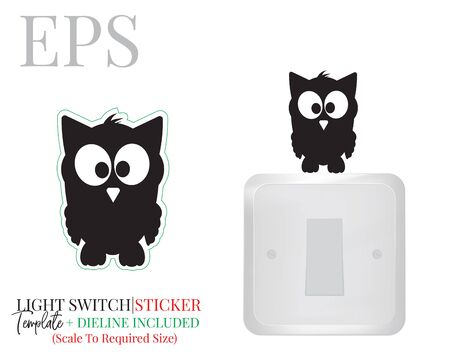 Light switch sticker, cute owl silhouette, vector. Owl illustration isolated on white background. Wall decals, wall artwork, cartoon decoration design. Standard-Bild - 136900001