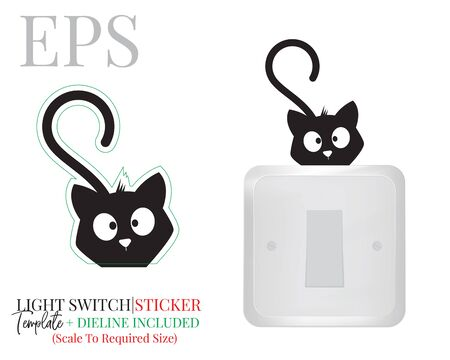 Light switch sticker, cute cat silhouette, vector. Kitten illustration isolated on white background. Wall decals, wall artwork, cartoon decoration design. Standard-Bild - 136900002