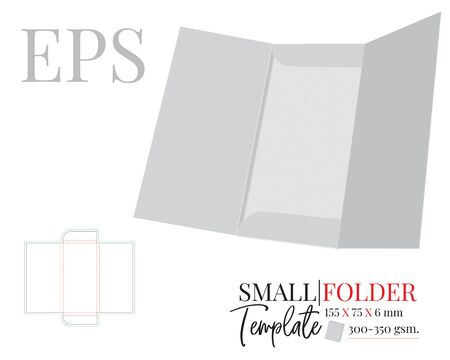 Folder Template. Vector with die cut / laser cut layers. two side document folder. White, clear, blank, isolated open small Document Folder mock up on white background with perspective view. Standard-Bild - 136900003