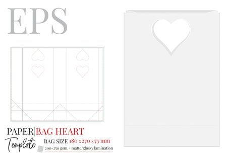 Paper Bag with Heart Handles Illustration, Shopping Bag, 270 x 180 x 75, Packaging Design. Vector with die cut / laser cut layers. White, clear, blank, isolated Paper Bag mock up on white background Standard-Bild - 136900007