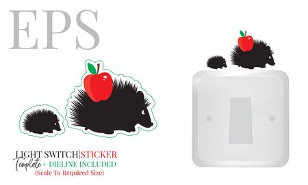 Light switch sticker, cute hedgehogs silhouette with red apple, vector. Hedgehogs illustration with red apple isolated on white background. Wall decals, wall artwork, cartoon decoration design Standard-Bild - 136661803