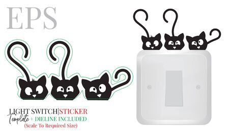 Light switch sticker, cute cats silhouette, vector. Three kittens illustration isolated on white background. Wall decals, wall artwork, cartoon decoration design Standard-Bild - 136662036