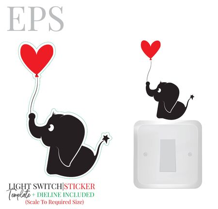 Light switch sticker, cute elephant silhouette with red heart balloon, vector. Elephant illustration with red heart isolated on white background. Wall decals, wall artwork, cartoon decoration design Standard-Bild - 136507782