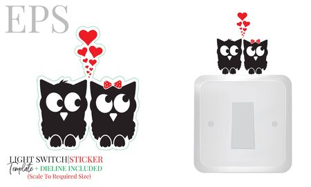Light switch sticker, cute owls in love silhouette, vector. Two owls illustration with red hearts isolated on white background. Wall decals, wall artwork, cartoon decoration design Standard-Bild - 136507772