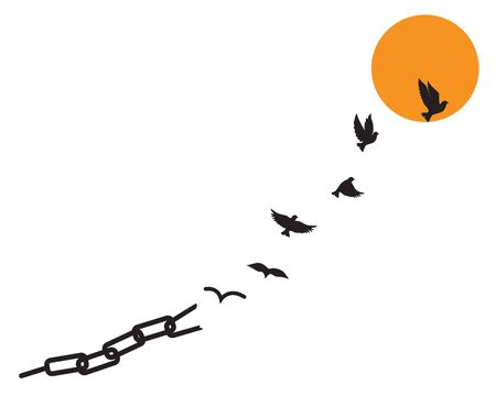 Birds released from chain on sunset / sunrise, vector. Flying birds silhouettes illustration. Scandinavian minimalist poster design. Wall art work, wall decals. Synonym for freedom Standard-Bild - 136881369