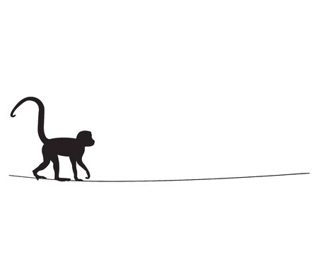 Monkey silhouette on wire, vector. Monkey black and white illustration isolated on white background. Scandinavian minimalist poster design. Wall decals, wall artwork Standard-Bild - 136873013