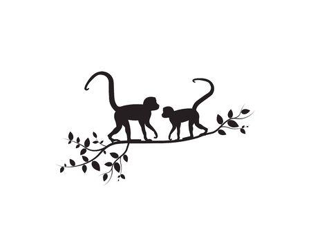 Two monkeys on branch, vector. Monkeys silhouettes on tree  illustration. Wall artwork, wall decals. Scandinavian minimalist poster design isolated on white background. Minimalism background. Standard-Bild - 136900036
