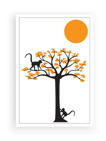 Two monkeys on autumn tree on sunset, vector. Two monkeys silhouettes on colorful tree. Poster design. Artwork, wall art, wall decals Standard-Bild - 136872779
