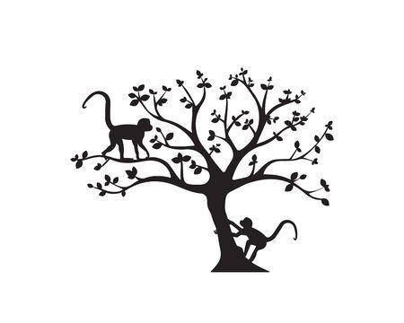 Two monkeys on tree, vector. Monkeys silhouettes on tree  illustration. Wall artwork, wall decals. Scandinavian minimalist poster design isolated on white background. Minimalism background. Standard-Bild - 136900035