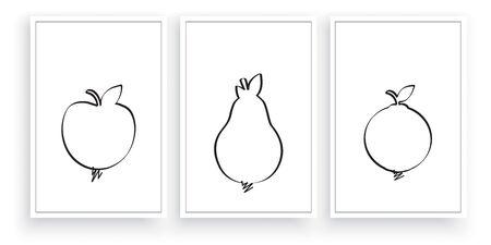 Fruit silhouettes, vector. Scandinavian  minimalist three pieces poster design. Apple, pear and orange illustration. Wall artwork, wall art, wall decals Standard-Bild - 136873032