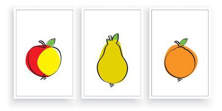 Fruit silhouettes, vector. Scandinavian  minimalist three pieces poster design. Apple, pear and orange illustration. Wall artwork, wall art, wall decals Standard-Bild - 136900037