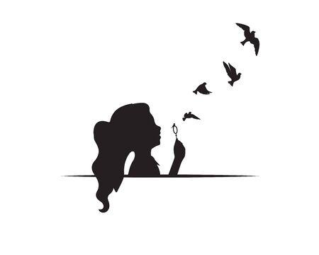 Girl silhouette with flying birds. Artwork isolated on white background isolated on white background Standard-Bild - 137405020