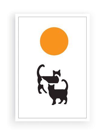 Cats silhouettes on sunset / sunrise, vector. Cats silhouettes illustration. Standard-Bild - 137404879