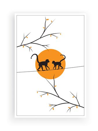 Monkeys silhouettes on wire on sunrise/sunset in nature, vector. Monkeys illustration in isolated on white background. Scandinavian minimalist poster design. Wall decals, wall artwork Standard-Bild - 137461433