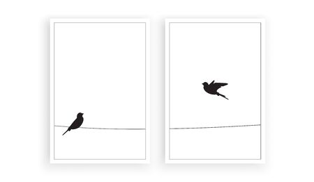 Two birds silhouettes on wire, vector. Flying bird silhouette, illustration. Wall decals, wall art work. Scandinavian minimalist two pieces poster design isolated on white background Standard-Bild - 137392234