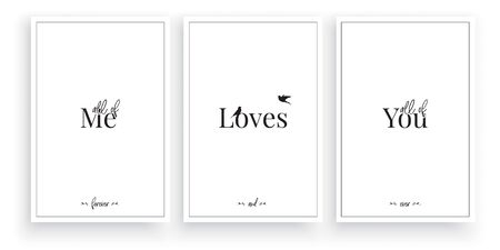 All of me, loves all of you, vector. Wording design, lettering. Minimalist Scandinavian design. Three pieces poster design. Wall artwork, wall decoration, wall decals Standard-Bild - 137392088