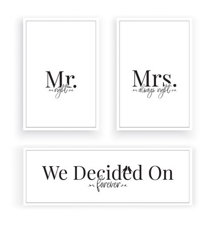 Mr. Right & Mrs. Always Right, we decided on forever. Scandinavian Minimalist Wording Design, Wall Decor Vector, Wall Decals, Lettering, Three pieces Wall Art isolated on white background