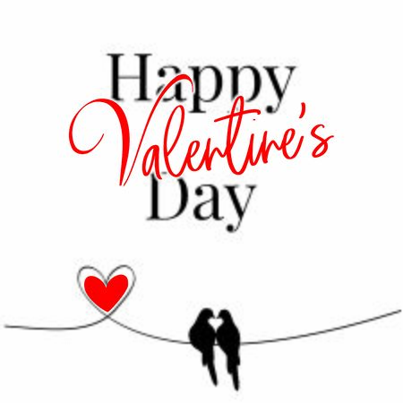 Happy Valentine's Day, vector. Wording design, lettering. Two birds silhouettes making shape of a heart. Couple birds in love with red heart. Art work, Poster design Standard-Bild - 137461108