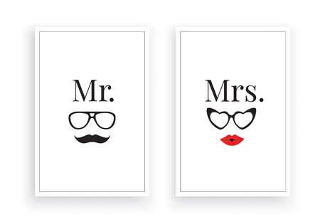 Mr. Right & Mrs.,Scandinavian Minimalist Art Design, Wall Decor Vector, Wall Decals, Lettering, Art Decor, Two pieces Wall Art isolated on white background. Poster Design, Couple T shirt design Standard-Bild - 137626732