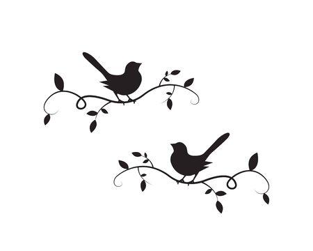Birds On Branch Silhouette Vector, Wall Decals, Wall artwork, Birds on two branches design, Birds Silhouette. Art Design, Wall Design Isolated on white background, minimalist poster design Standard-Bild - 137840798