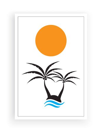 Palm tree silhouettes on little island on sunset / sunrise, vector. Minimalist background design. Poster design isolated on white background. Wall art, home art, wall decals Standard-Bild - 137830012