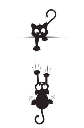 Cat silhouettes, one cat trying to catch another falling cat. Cat cartoon character. Minimalist artwork, Cartoon fun illustration, wall art, wall decals, wall artwork Standard-Bild - 138001484