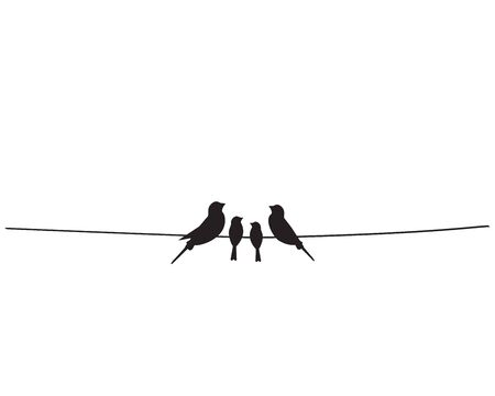 Birds silhouettes on wire, vector. Family birds illustration. Scandinavian minimalist art design, wall decals, wall artwork, home decor. Poster design isolated on white background