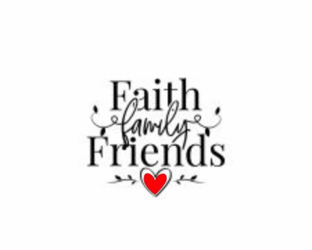 Faith, Family, Friends, vector. Wording design, lettering. Wall decals, poster design isolated on white background. Wall artwork, home art design. Red heart illustration. Beautiful quotes, sticker Standard-Bild - 138233946