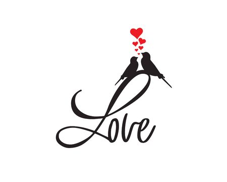 Love, vector. Romantic wording design, lettering. Birds silhouettes in love with red hearts illustration. Wall decals, artwork. Greeting card design, cup design Standard-Bild - 138233928