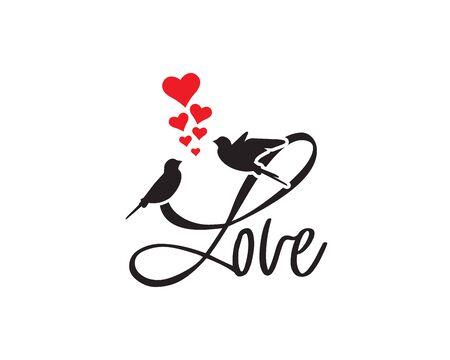 Love, vector. Romantic wording design, lettering. Birds silhouettes in love with red hearts illustration. Wall decals, artwork. Greeting card design, cup design Standard-Bild - 138233843
