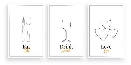 Eat, Drink, Love. Scandinavian minimalist art design, three pieces poster artwork design, vector. Fork and spoon illustration, Wine Glass and hearts. Wall artwork, home decor, wall art design Standard-Bild - 138427338