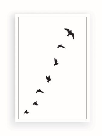 Flying birds silhouettes, vector. Synonym of freedom. Flying birds illustration isolated on white background. Wall decals, wall artwork, poster design. Scandinavian minimalist art design Standard-Bild - 138496678