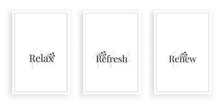 Relax, Refresh, Renew, vector. Scandinavian, minimalist art design. Three pieces poster design. Motivational, inspirational positive quotes. Wall artwork, art design, wall decoration Ilustración de vector