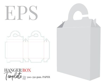 Hanger box Template. Vector with die cut / laser cut layers. Shopping Bag Box and Hanger. White, clear, blank, isolated Hanger box mock up on white background with perspective view. Packaging design