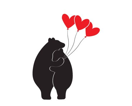 Bears silhouettes hugging each other and holding red hearts balloons, vector. Bears in love. Minimalist art design, poster design, wall art, artwork. Wall decals isolated on white background.