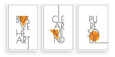 Brave heart, clear mind, pure soul, vector. Scandinavian minimalist art design. Three pieces poster design. Wall art, art design, artwork. Modern wording design. Motivational, inspirational quote