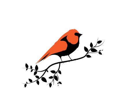 Bird on Branch on sunset, Vector. Robin Bird Silhouette. Wall art, artwork. Nature Art Design, Wall Decor isolated on white background. Wall art work