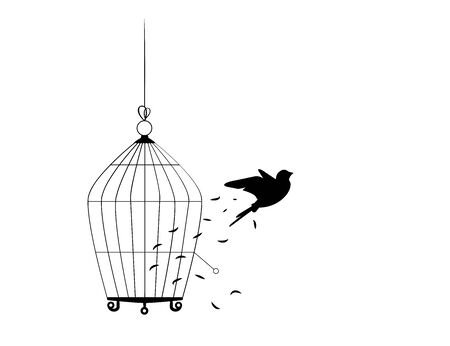 Bird flying from the cage, flying bird silhouette, cage illustration, freedom concept, wall decals, wall artwork, poster design isolated on white background. Scandinavian minimalist art design