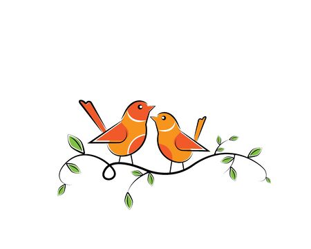 Two birds silhouettes on branch, vector. Colorful birds illustration isolated on white background. Cartoon art design. Wall decals, artwork. Childish wall art design