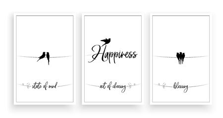 Happiness is state of mind, act of choosing, blessing, vector. Wording design, lettering. Scandinavian minimalist poster design, three pieces poster design, wall art decor, wall decals, life quote