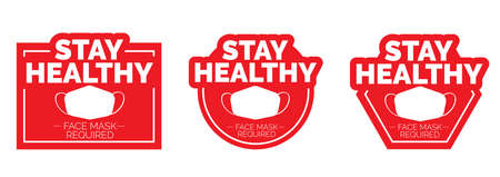 Stay healthy, Face mask required, vector. Stop red icon. Sign Stop, keep distance. Hand illustration with stop symbol